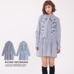 【KOMI】蝴蝶結繡花棉襯衫洋裝‧二色