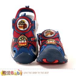 魔法Baby 男童鞋 POLI授權正版羅伊款護趾防撞閃燈運動涼鞋~sa01132