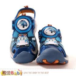 魔法Baby 男童鞋 POLI授權正版波力款護趾防撞閃燈運動涼鞋~sa01136