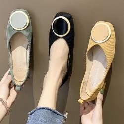 【Alice 】 (預購) 明星款春意昂然針織方頭平底鞋