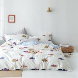 eyah 台灣製200織紗精梳棉單人床包雙人被套三件組-韓國彩魚