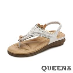 【QUEENA】波希米亞民族風華麗美鑽繩飾縷空刻花舒適坡跟夾腳涼鞋 白
