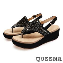 【QUEENA】波希米亞民族風華麗美鑽鉚釘拼貼厚底夾腳涼鞋 黑