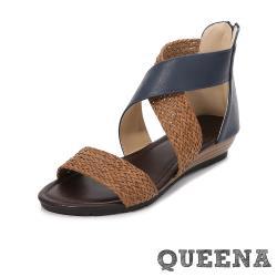 【QUEENA】百搭復古編織拼接一字交叉坡跟厚底涼鞋 藍