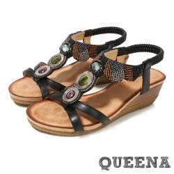 【QUEENA】波西米亞民族風彩色貓眼石串珠造型舒適坡跟涼鞋 黑