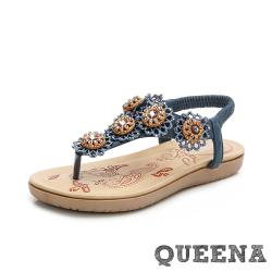 【QUEENA】可愛立體串珠花朵民族風T字夾腳羅馬涼鞋 藏青