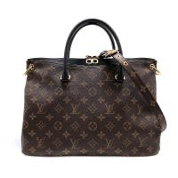 【Louis Vuitton】Monogram PALLAS MM 帆布手提包(M42756-黑)