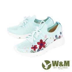 W&M(女) 圓頭綉花綁帶休閒鞋 厚底鞋女鞋 -藍綠