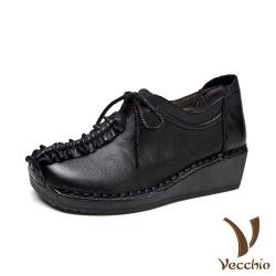 【Vecchio】真皮頭層牛皮復古縫線造型厚底坡跟綁帶休閒鞋 黑