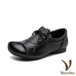 【Vecchio】真皮頭層牛皮復古縫線抓褶綁帶小圓頭低跟鞋 黑