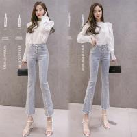 【韓國K.W. 】流行穿搭韓版優雅牛仔喇叭褲