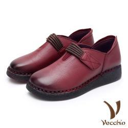 【Vecchio】真皮頭層牛皮復古線繩魔鬼粘手工縫線舒適平底休閒鞋 酒紅