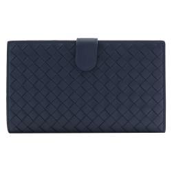 BOTTEGA VENETA 132357 經典編織小羊皮扣式零錢中長夾.深藍