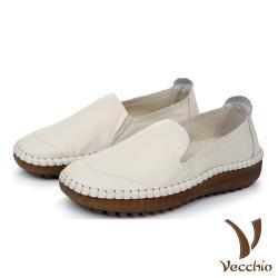 【Vecchio】真皮頭層牛皮復古手工縫線舒適軟底樂福鞋 白