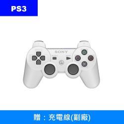 【SONY 索尼】PS3 原廠震動手把控制器CECHZC2T(白)(袋裝)+充電線(副廠)
