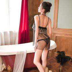 女人香 夢幻波點 性感平口細肩帶柔紗蕾絲透視睡衣裙-黑