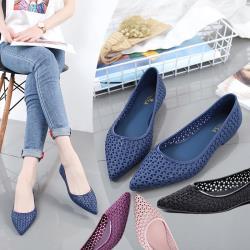森之舞-(買一送一)春夏新款尖頭縷空防滑果凍涼鞋(藍/紫/黑/粉)4色選 36-40-預購