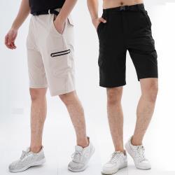 【遊遍天下】兩件組_男款彈性抗UV休閒短褲(黑+卡其)-贈腰帶