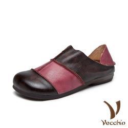 【Vecchio】真皮頭層牛皮舒適寬楦撞色拼接兩穿法平底休閒鞋 紫