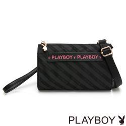 【PLAYBOY】萬用包附手挽帶及長背帶 時尚黑潮系列