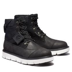Timberland 男款黑色拼接全粒面皮革厚底靴A2EHH001