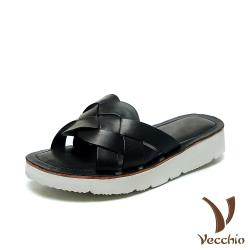 【Vecchio】全真皮頭層牛皮復古經典編織一字造型輕量厚底拖鞋 黑