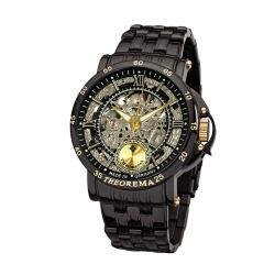 THEOREMA GM-101羅馬數字鏤空機械男士鋼帶手錶 - 黑色 101-10