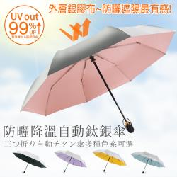 鈦銀膠抗UV全自動三折雨傘 遮陽傘 自動傘(鈦銀膠 抗UV、防曬、防紫外線)