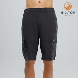 【hilltop山頂鳥】男款吸濕快乾彈性涼感短褲S09M75魚子醬黑
