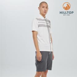 【hilltop山頂鳥】男款吸濕快乾polygiene抗菌彈性POLO衫S14MI1極亮白底灰條