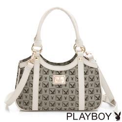 【PLAYBOY】手提包附長背帶  半格兔系列