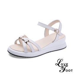 【LOVE FOOT 樂芙】真皮細緻優雅米字線條造型厚底時尚涼鞋 白