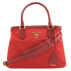 PRADA 1BA173 經典LOGO尼龍帆布手提兩用包.紅
