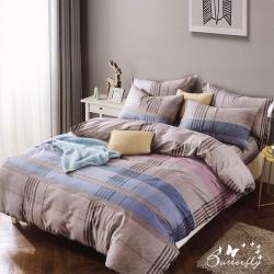BUTTERFLY-柔絲絨格紋枕套床包三件組-芙拉多(加大)