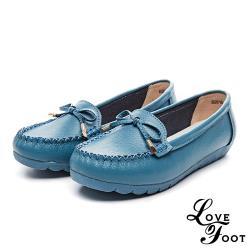【LOVE FOOT 樂芙】真皮甜美蝴蝶結造型舒適軟底樂福鞋 藍