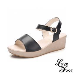 【LOVE FOOT 樂芙】真皮純色百搭魚口露趾氣質時尚厚底坡跟涼鞋 黑