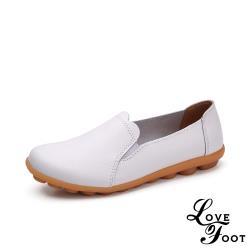 【LOVE FOOT 樂芙】真皮百搭純色花邊鞋口舒適軟底休閒豆豆鞋 白