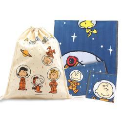 限量典藏- PEANUTS SNOOPY史努比 方巾毛巾浴巾三件組(送束口袋)-漫步太空