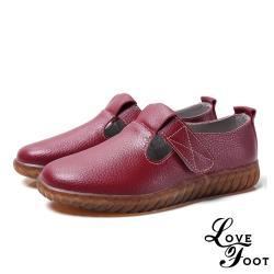 【LOVE FOOT 樂芙】真皮時尚T字魔鬼黏造型舒適休閒鞋 酒紅