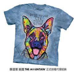 【摩達客】美國進口The Mountain 彩繪開心德國狼犬 純棉環保短袖T恤