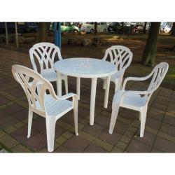 BROTHER兄弟牌塑膠格網高背椅+90cm塑膠圓桌一桌四椅組