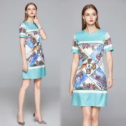 【歐風KEITH-Will 】 (預購) 歐洲站印花氣質高雅洋裝