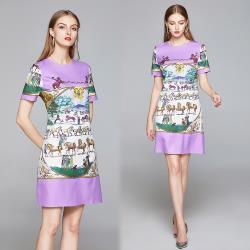 【歐風KEITH-Will 】 (預購) 歐洲站合身印花風格圖騰洋裝