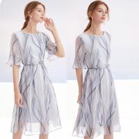【歐風KEITH-Will 】 (預購) 法式優雅仿桑蠶絲印花洋裝