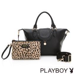 【PLAYBOY】手提包附長背帶  Leopard時尚豹豹系列