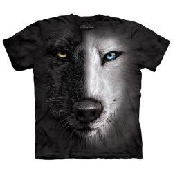 【摩達客】美國進口The Mountain 陰陽眼黑白狼臉 純棉環保短袖T恤