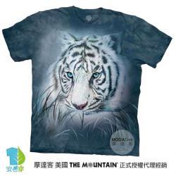 【摩達客】(大尺碼5XL)美國進口The Mountain 深思白虎 純棉環保藝術中性短袖T恤