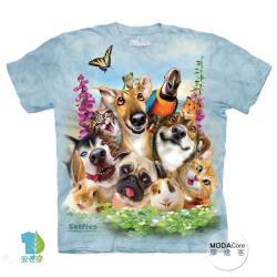 【摩達客】美國進口The Mountain 寵物們哦耶 純棉環保短袖T恤