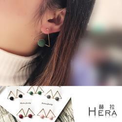 Hera 赫拉  幾何三角毛球耳針/耳環-5色