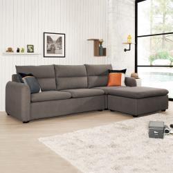 Boden-伊娜L型灰色貓抓皮沙發椅(三人座+腳椅)(贈抱枕)